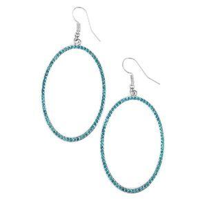 Blue Rhinestone Silver Oval Dangle Earrings